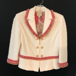 St. John Couture Blazer Jacket Fringe Boucle 4